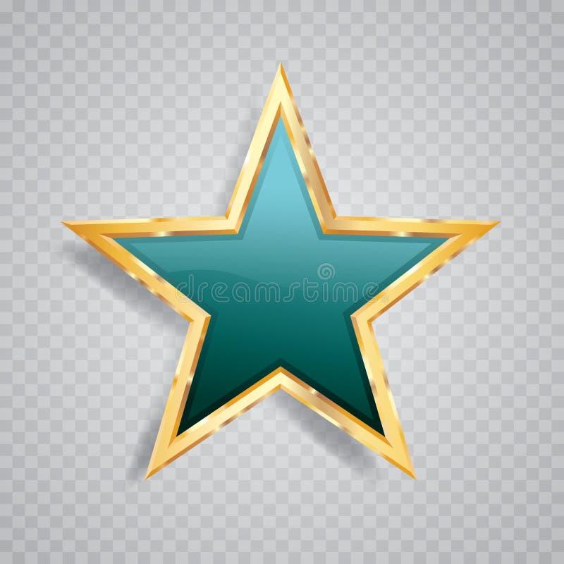 Estrella ligera de la turquesa del oro ilustración del vector