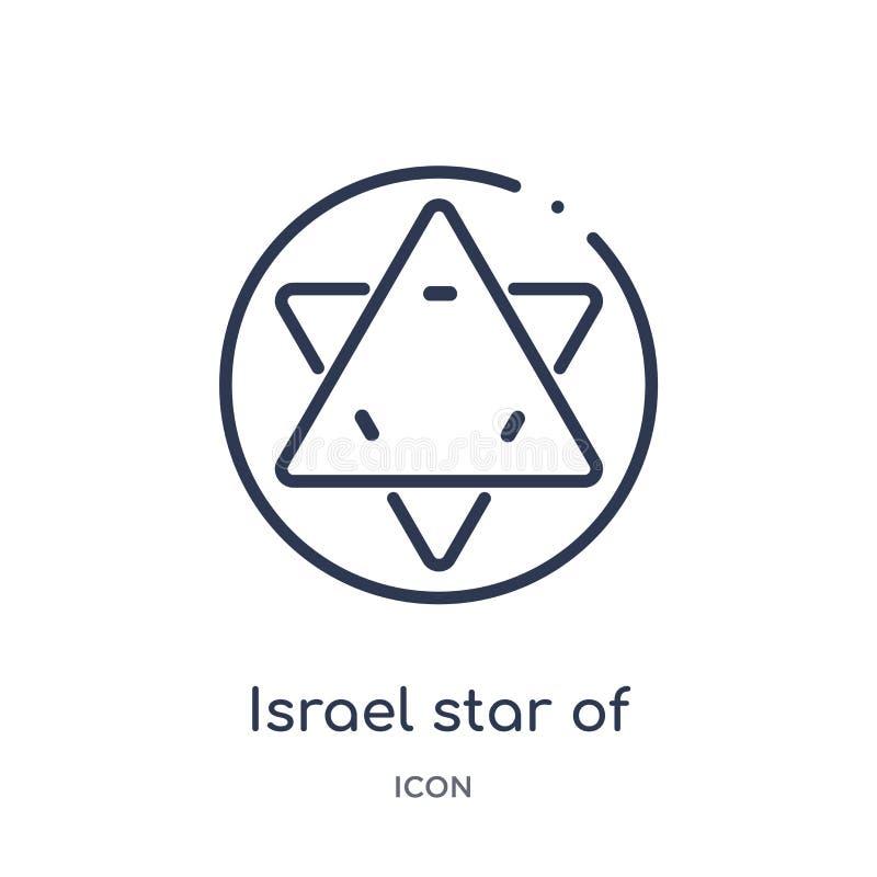 Estrella linear de Israel del icono de David de la colección del esquema de las culturas Línea fina estrella de Israel del icono  stock de ilustración