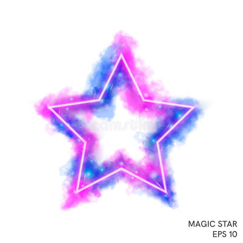 Estrella mágica del fuego de la acuarela con el contador de neón ilustración del vector