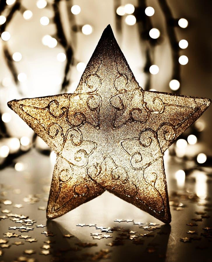 Estrella, ornamento del árbol de navidad imagenes de archivo