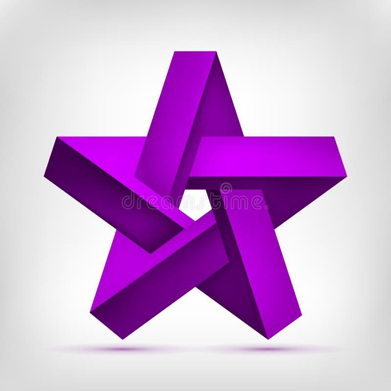 Estrella pentagonal de la ilusión forma púrpura irreal Cinco-acentuada, objeto inexistente de la geometría, diseño abstracto del  ilustración del vector
