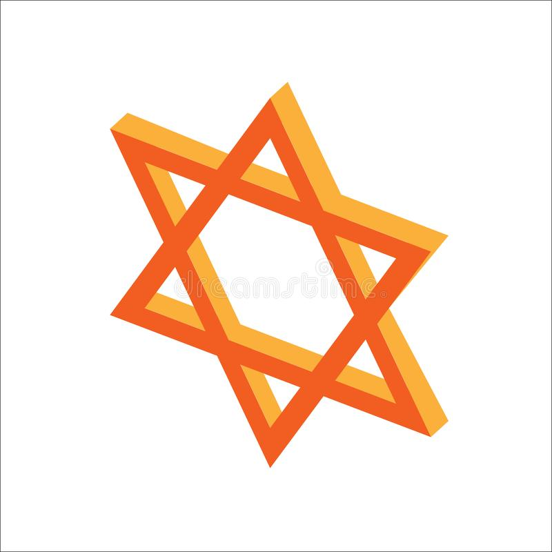 Estrella plana isométrica de Jánuca de David, icono judío de los días de fiesta Ejemplo del elemento para Jánuca adentro libre illustration