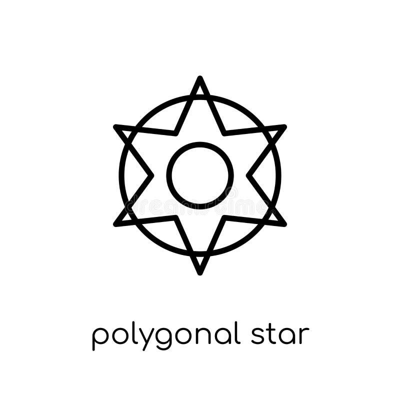 Estrella poligonal de seis puntos del icono de la colección de la geometría ilustración del vector