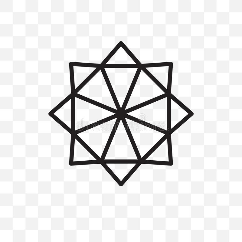 Estrella poligonal de seis puntos del icono linear del vector aislado en el fondo transparente, estrella poligonal de seis puntos stock de ilustración
