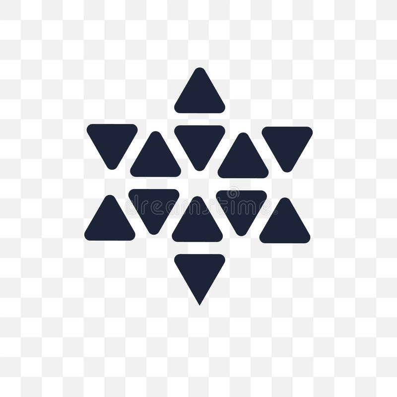 Estrella poligonal de seis puntos del icono transparente Estrella poligonal de stock de ilustración