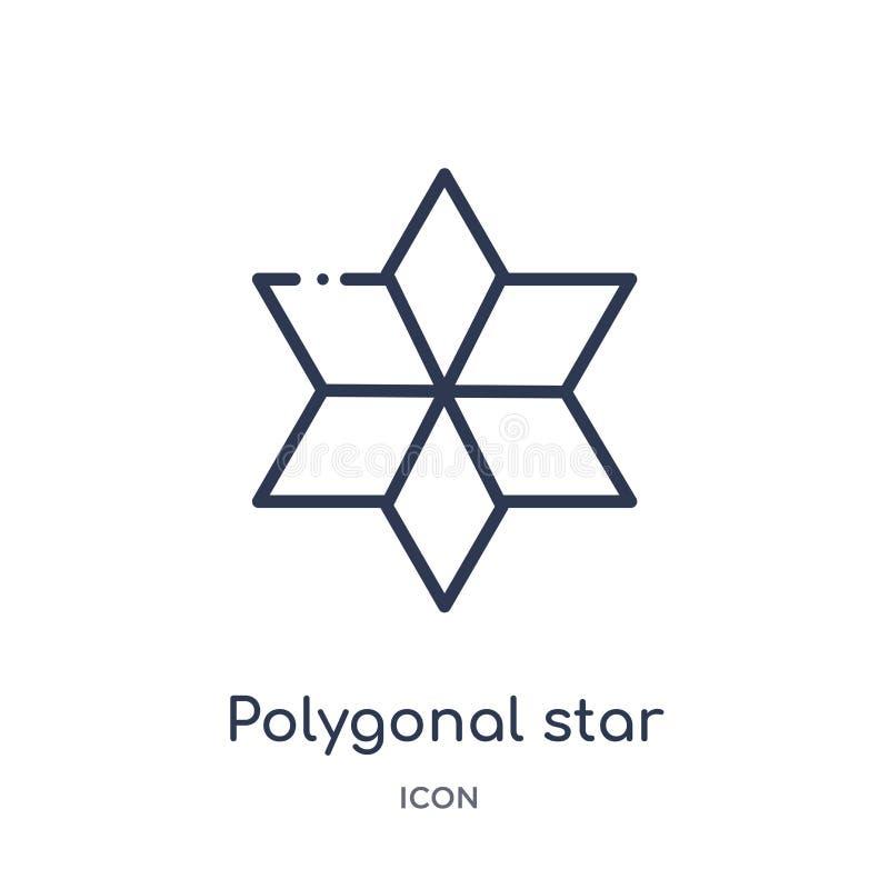 Estrella poligonal linear de seis puntos del icono de la colección del esquema de la geometría Línea fina estrella poligonal de s stock de ilustración