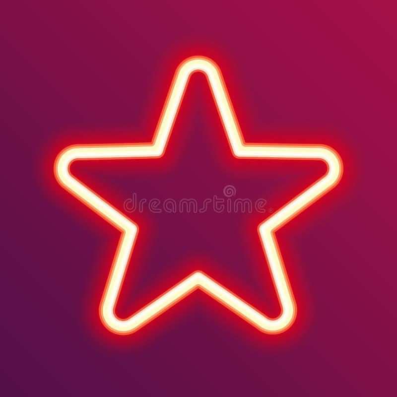 Estrella que brilla intensamente de neón ilustración del vector