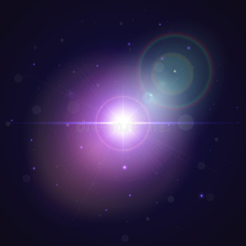 Estrella que brilla intensamente estallada en espacio Fondo abstracto del efecto luminoso de la explosión Llamarada colorida en u ilustración del vector