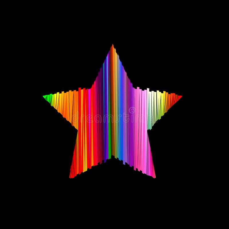 Estrella rayada abstracta de polígonos Aislado en fondo negro libre illustration