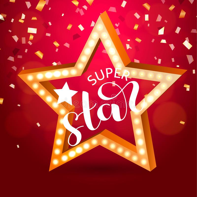 Estrella retra con las bombillas en un fondo rojo Letras estupendas de la estrella Ilustración del vector stock de ilustración