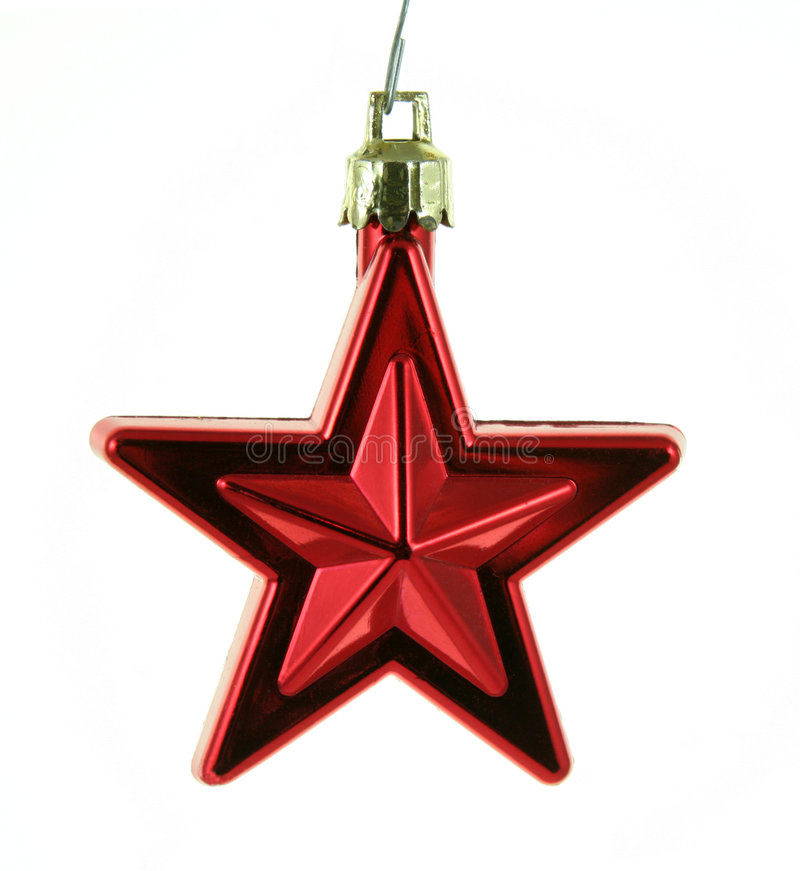 Estrella Roja Colgante De Navidad Foto de archivo