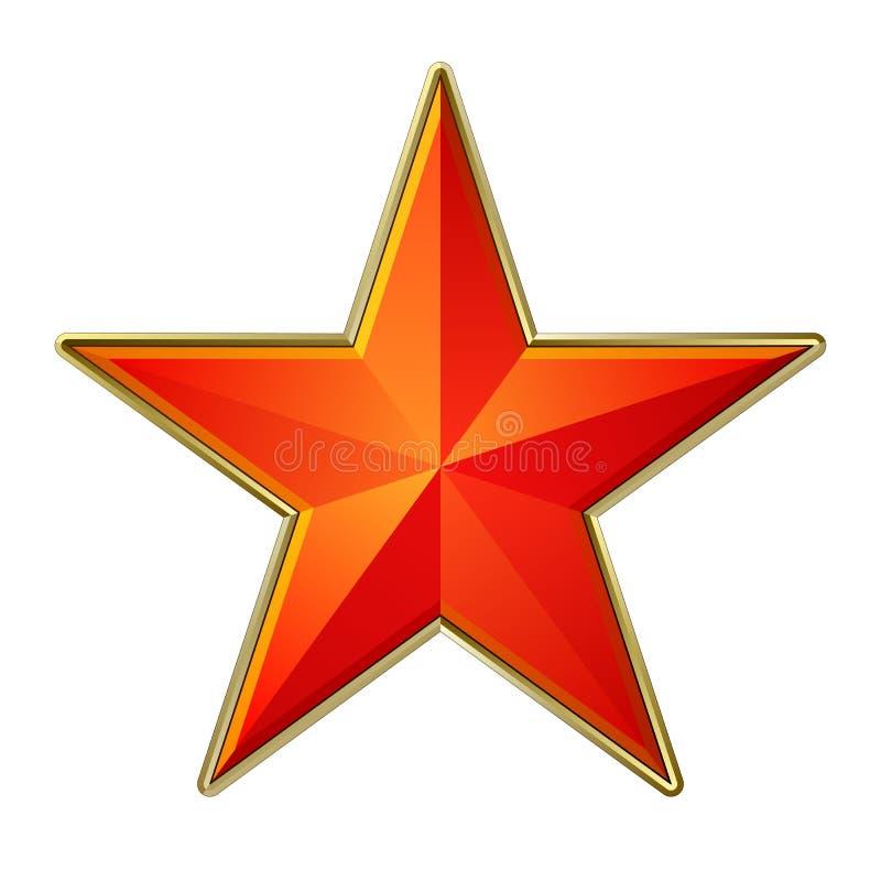 Estrella roja con el marco de oro stock de ilustración