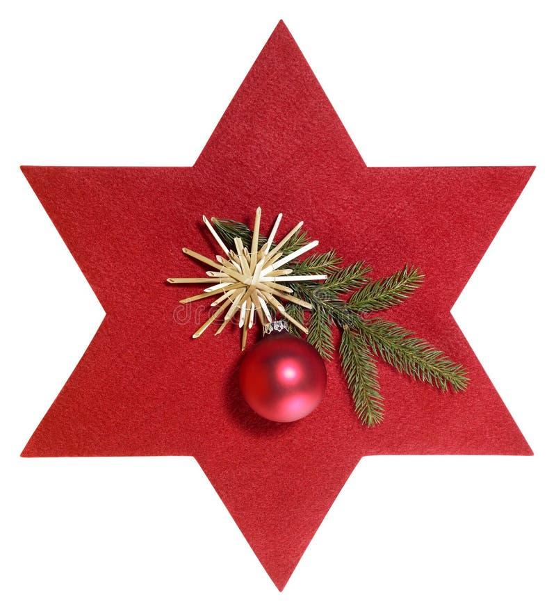 Estrella roja con la decoración de la Navidad imagen de archivo libre de regalías
