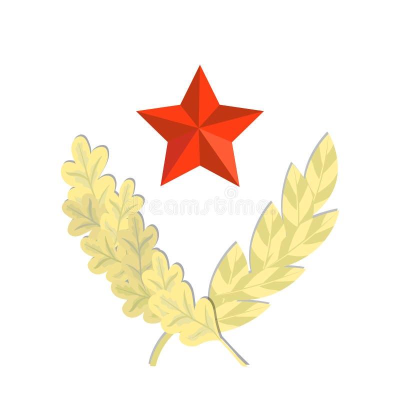 Estrella roja con la guirnalda del laurel del oro libre illustration