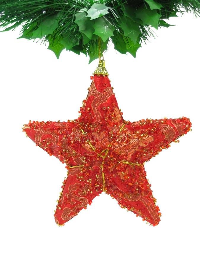 Estrella roja de la Navidad aislada fotos de archivo