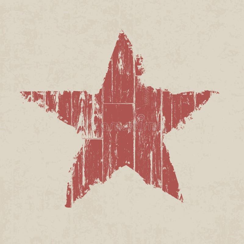 Estrella roja del Grunge. stock de ilustración