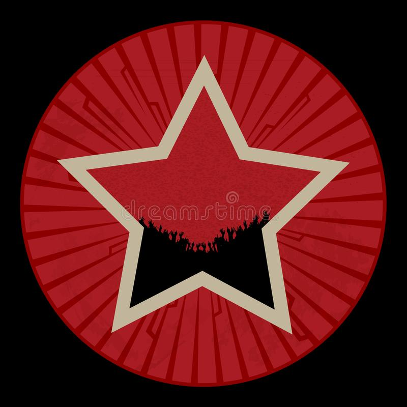 Estrella roja del vintage con la muchedumbre en la frontera roja con tribals ilustración del vector