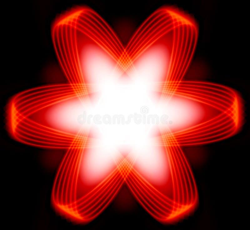 Estrella roja o fractal de la energía de la potencia ilustración del vector