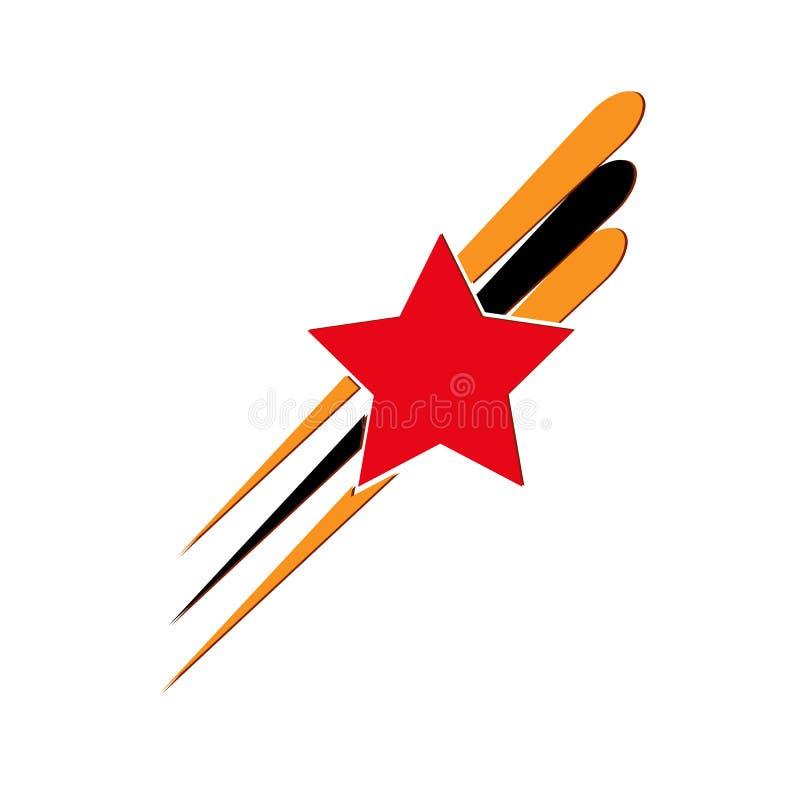 Estrella roja y tres rayos en los colores de la cinta de San Jorge stock de ilustración