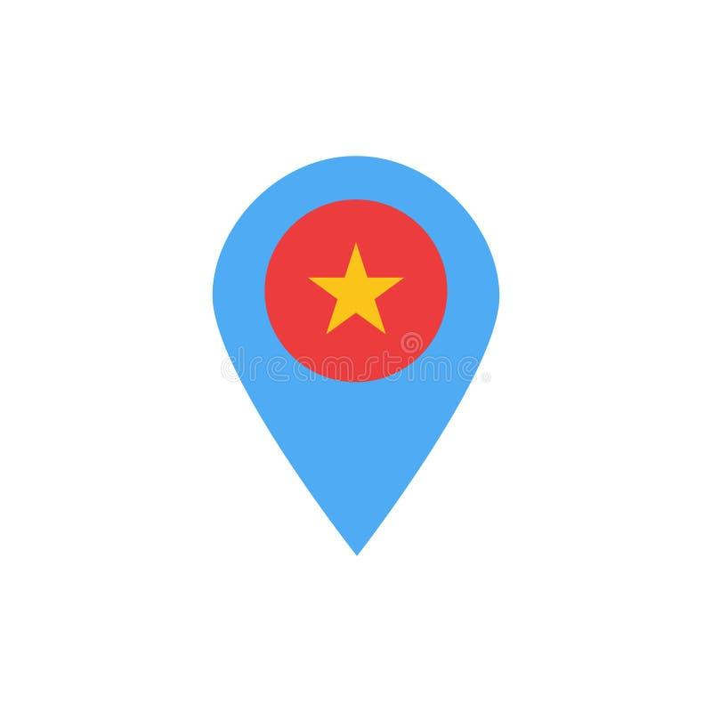Estrella, ubicación, mapa, marcador, Pin Flat Color Icon Plantilla de la bandera del icono del vector stock de ilustración