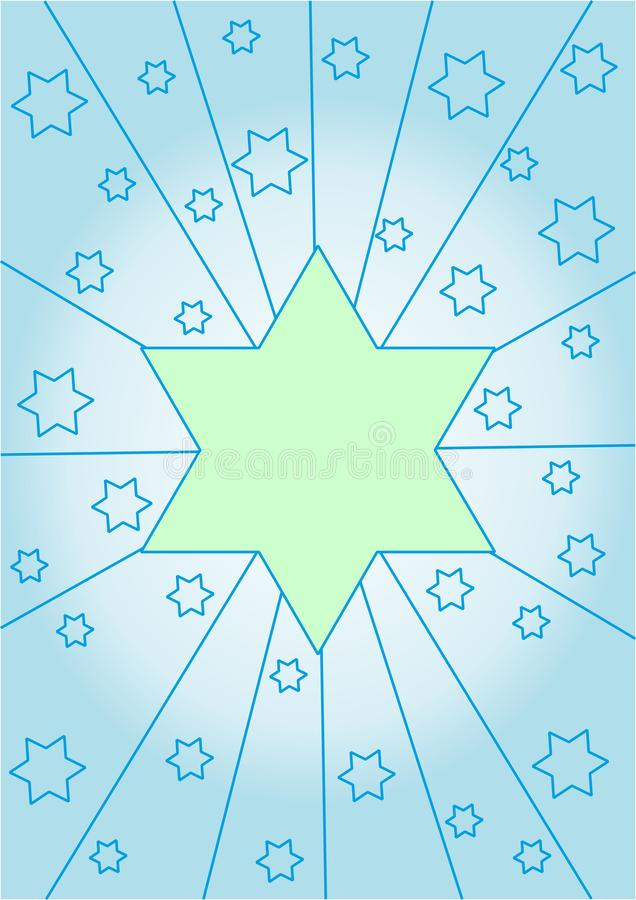 Estrella verde clara en un fondo azul claro foto de archivo