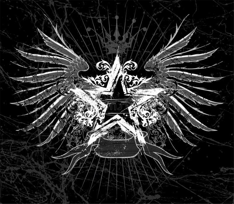 Estrella y alas de Grunge stock de ilustración
