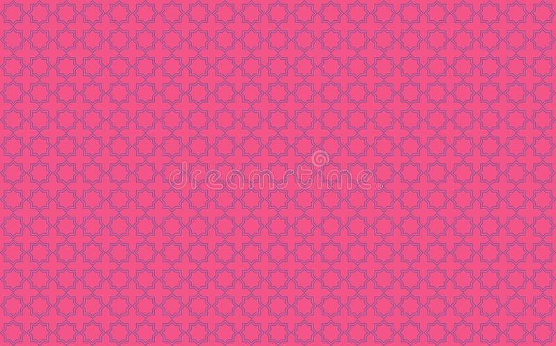 Estrella y cruz teja-como diseño con acentos azules en el fondo rosado de neón inspirado por el trabajo marroquí de la teja conoc stock de ilustración