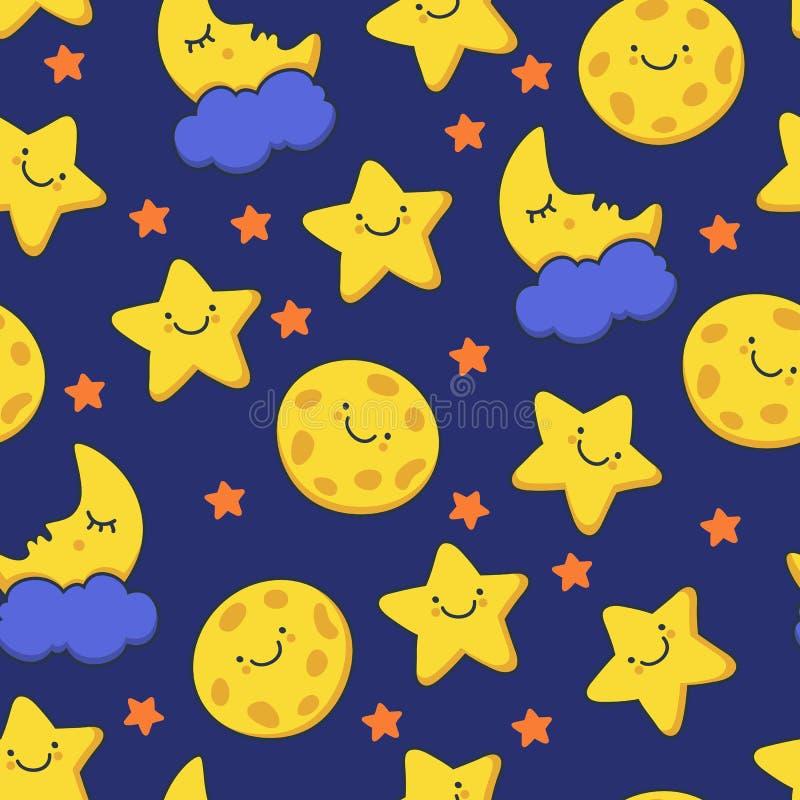 Estrella y luna sonrientes divertidas el dormir que bosquejan Vector inconsútil stock de ilustración