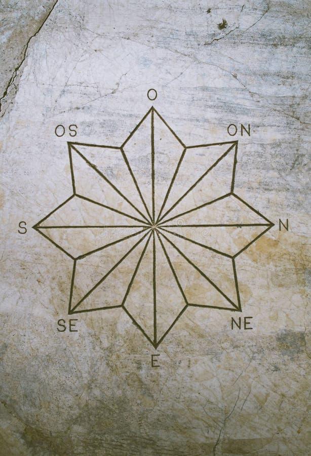 Estrella y puntos cardinales señalados ocho fotos de archivo