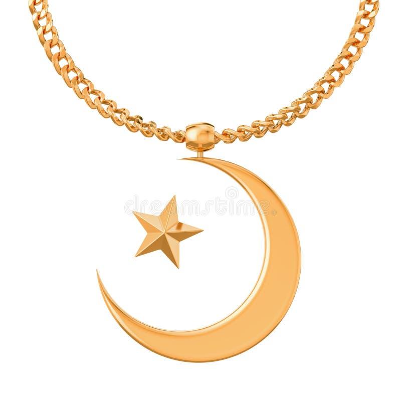 Estrella y símbolo creciente en la cadena de oro, representación 3D ilustración del vector