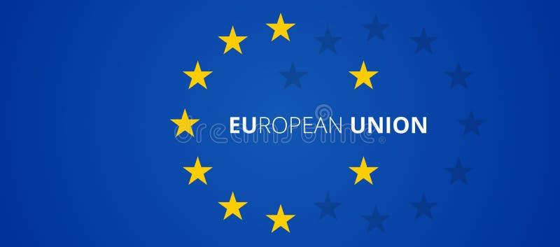 Estrellas abstractas creativas de la unión europea de la bandera del fondo 3d-illustration de Europa ilustración del vector