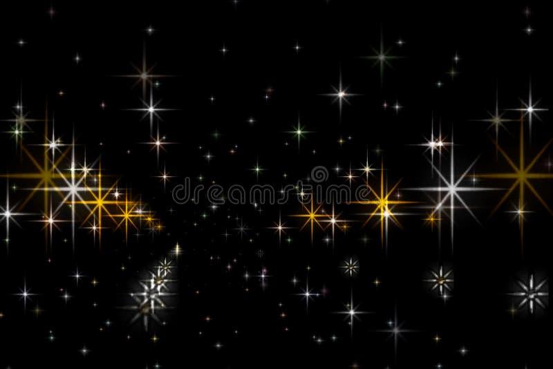 Estrellas animadas en un fondo negro El cielo estrellado stock de ilustración