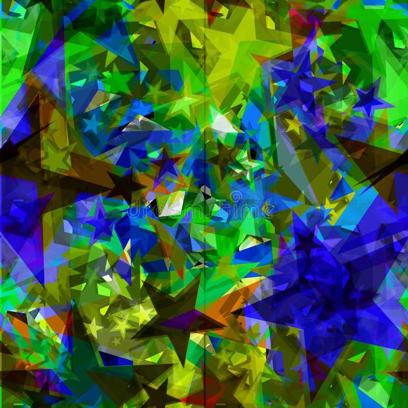 Estrellas azules brillantes de la hoja en fragmentos de cristal amarillos ilustración del vector