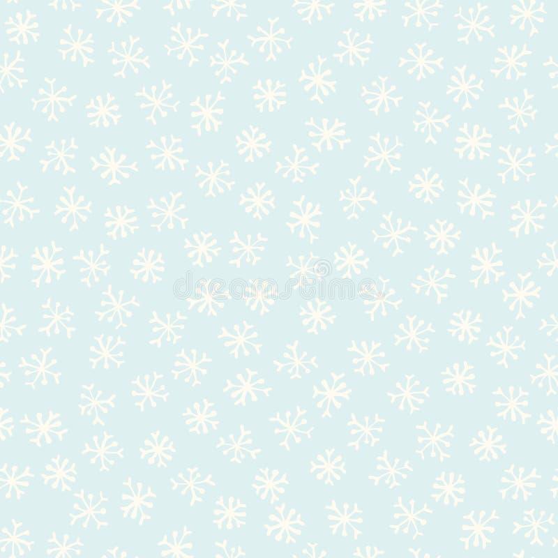 Estrellas azules claras y festivas de los copos de nieve del invierno stock de ilustración