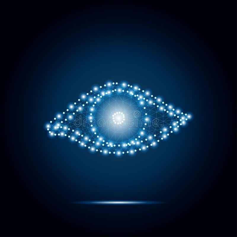 Estrellas azules 1 del polígono del ojo stock de ilustración