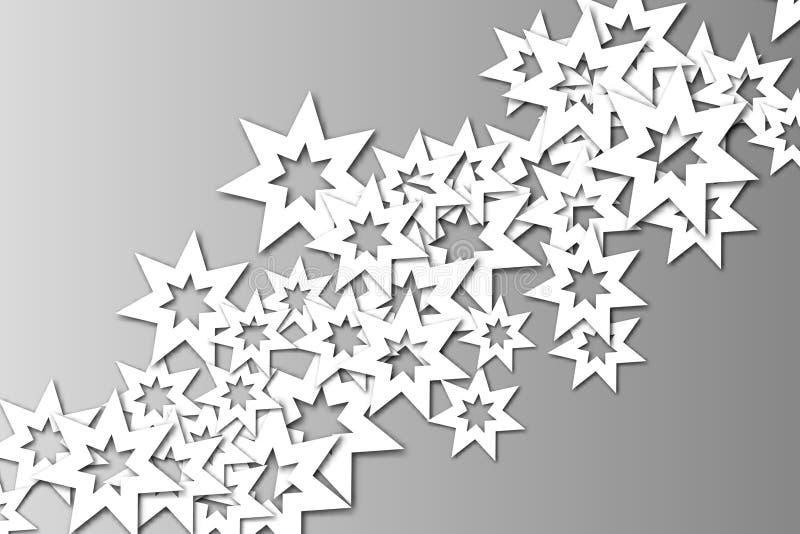 Estrellas blancas en fondo gris de la pendiente El efecto del papel cortado ilustración del vector