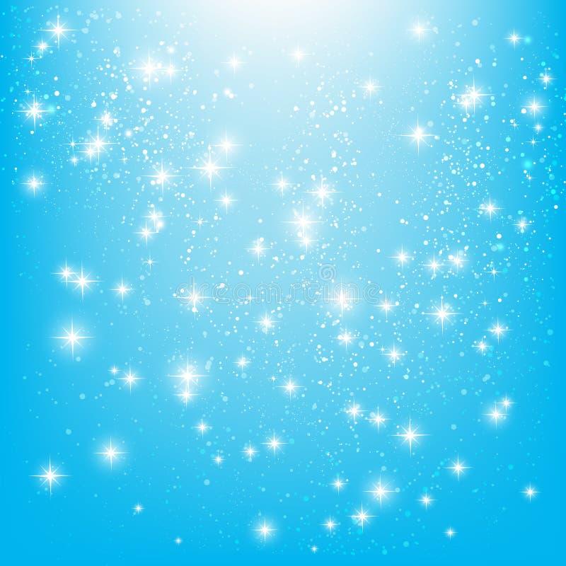Estrellas brillantes en azul ilustración del vector