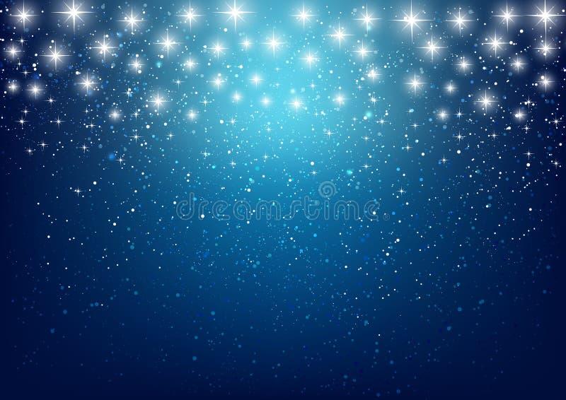 Estrellas brillantes en fondo azul libre illustration