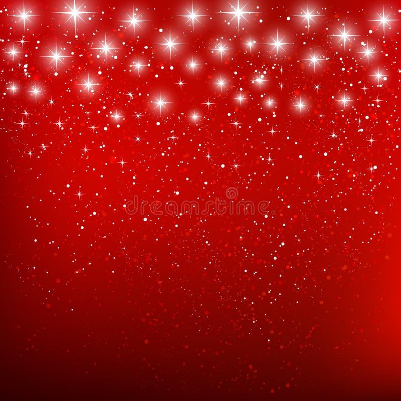Estrellas brillantes en rojo stock de ilustración