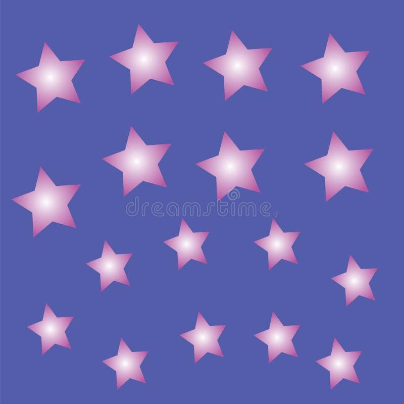 Estrellas brillantes en un fondo azul ilustración del vector