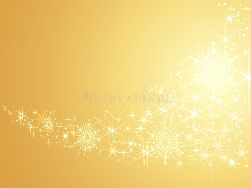Estrellas chispeantes en fondo abstracto de oro stock de ilustración