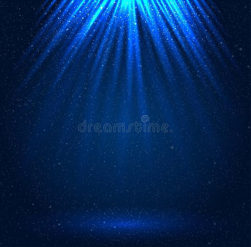 Estrellas, cielo, noche Rayos azules fulgor ilustración del vector