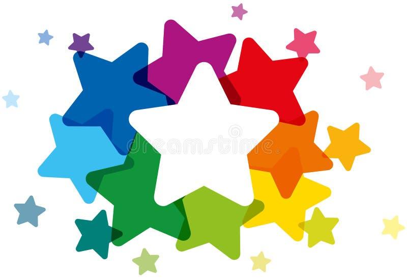 Estrellas coloreadas arco iris ilustración del vector