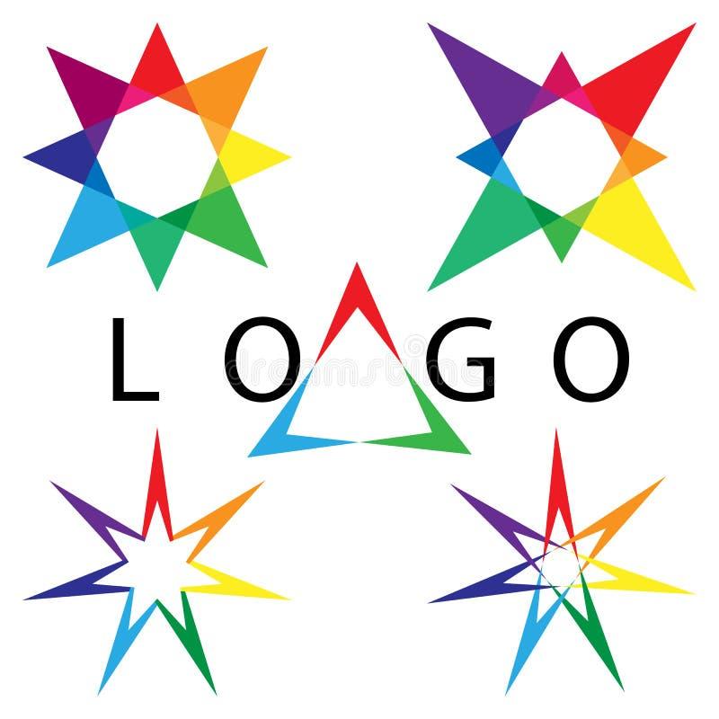 Estrellas coloreadas arco iris Fije a Logo Elements Plantillas para los logotipos corporativos stock de ilustración