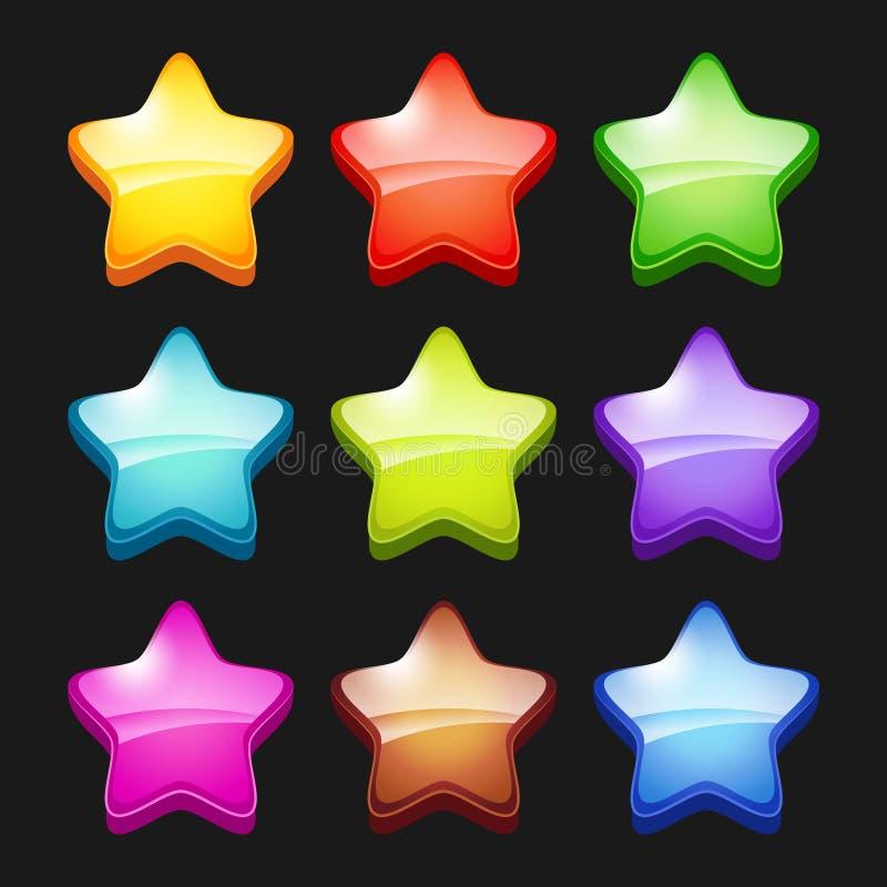 Estrellas coloreadas de la historieta Los símbolos de estatus cristalinos de los iconos de los juegos brillantes del GUI vector l ilustración del vector