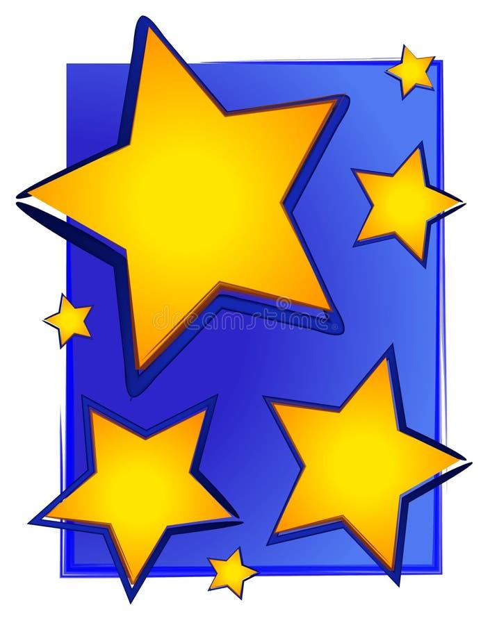 Estrellas coloreadas oro en azul ilustración del vector