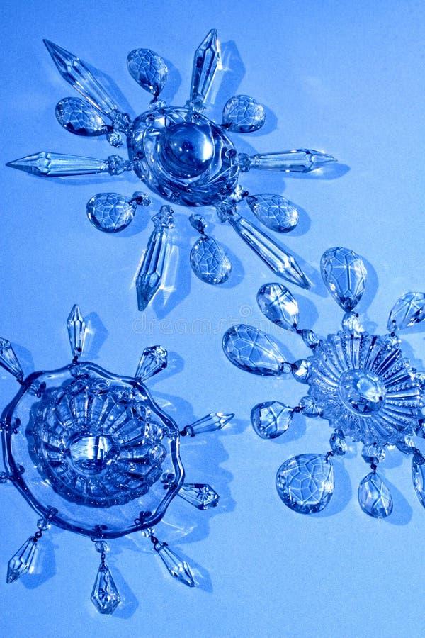 Estrellas cristalinas, copos de nieve imagen de archivo