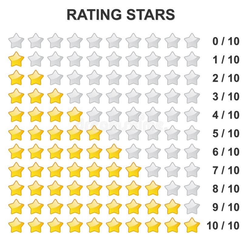 Estrellas de clasificación - 0 a 10 ilustración del vector