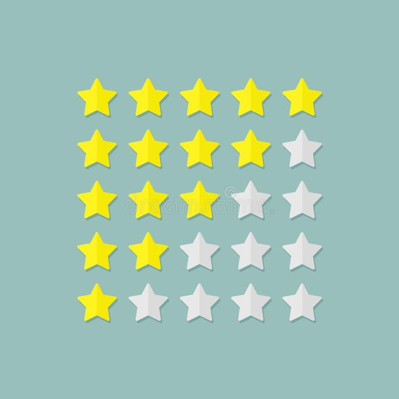 Estrellas de clasificación en estilo plano Ejemplo del vector del elemento del diseño ilustración del vector