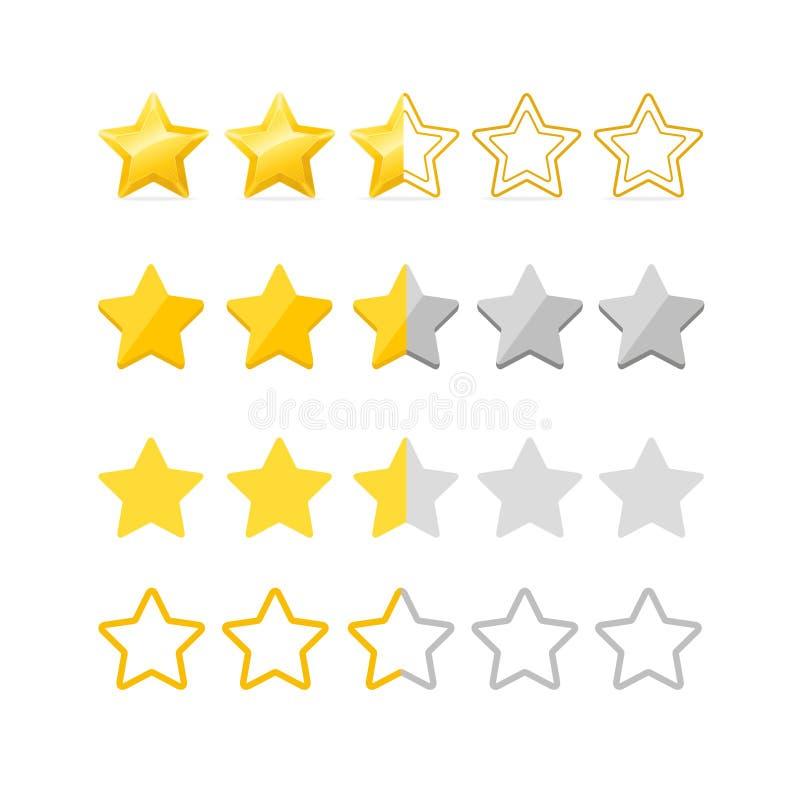 Estrellas de clasificación fijadas Vector ilustración del vector